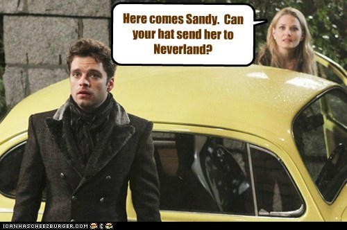 Here comes Sandy. Can your hat send her to Neverland?