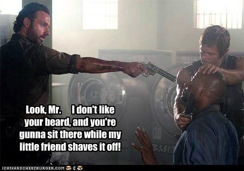 Rick Grimes,Andrew Lincoln,daryl dixon,beard,shave,norman reedus,gun,threat,The Walking Dead