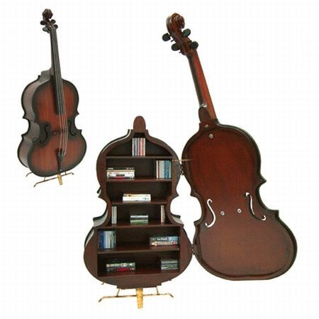 Music design shelf violin
