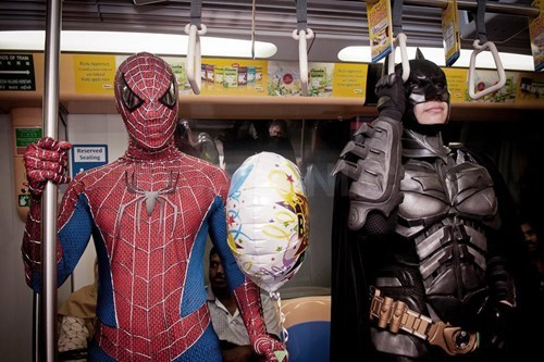 super heroes,Spider-Man,Subway,batman