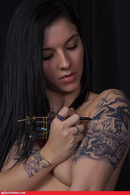 halloween witch graveyard self tattoo - 6719396352