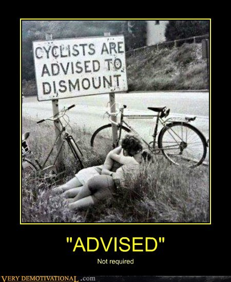 cyclists sign kissing funny - 6719521792