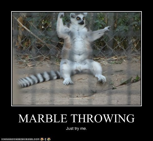 MARBLE THROWING Just try me.