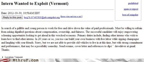 craigslist,peons,vermont,interns
