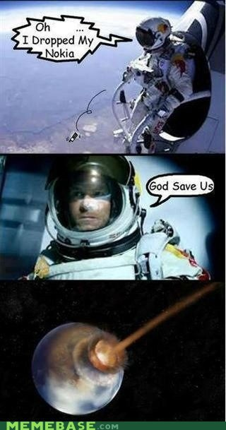 nokia,space jump,red bull,phone,earth