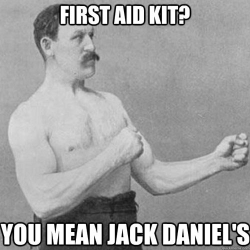 first aid,jack daniels,old-fashioned tough guy