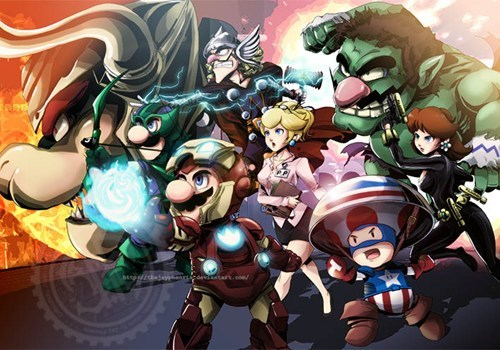 crossover,The Avengers,superheroes,mario,nintendo