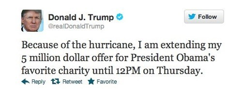 hurricane,donald trump,attention whore,generous,tweet,stupid,offer