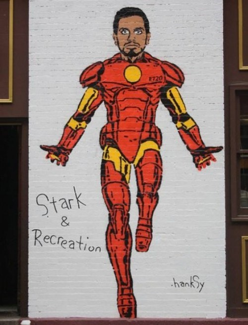 Street Art Hanksy stark and recreation - 6720626432
