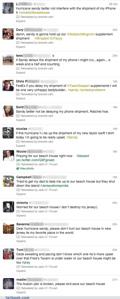 twitter,priorities,tweet,hurricane sandy,beach house