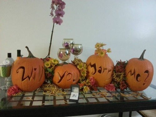halloween proposal leaves carved pumpkins