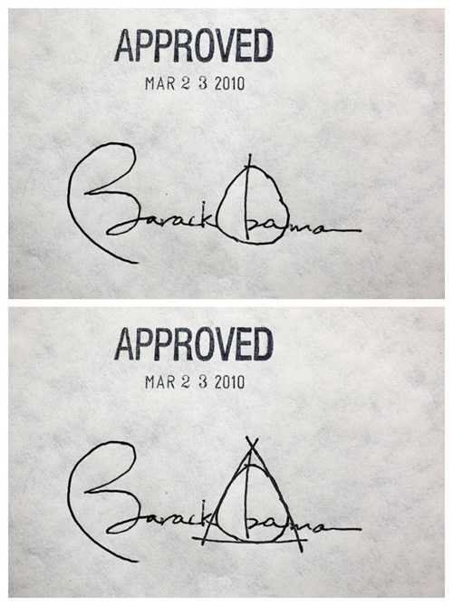 Harry Potter totally looks like deathly hallows barack obama symbol signature - 6720914688