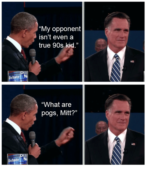 question pogs 90s kid Mitt Romney debate barack obama