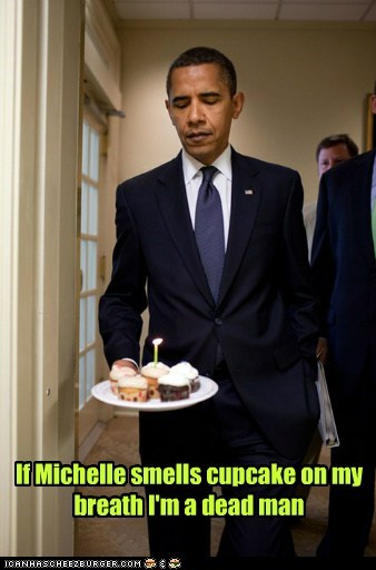 cupcake,unhealthy,barack obama,breath,Michelle Obama
