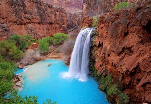 reflecting pool waterfall falls lake
