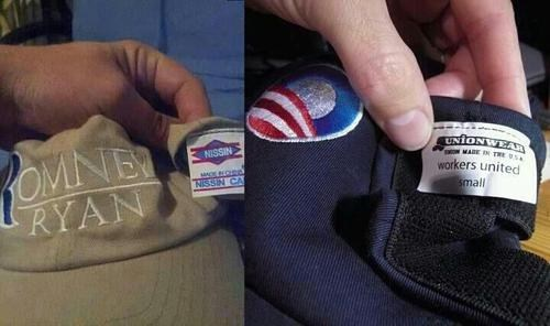 outsourcing,Mitt Romney,election 2012,barack obama,made in china,hat,politics