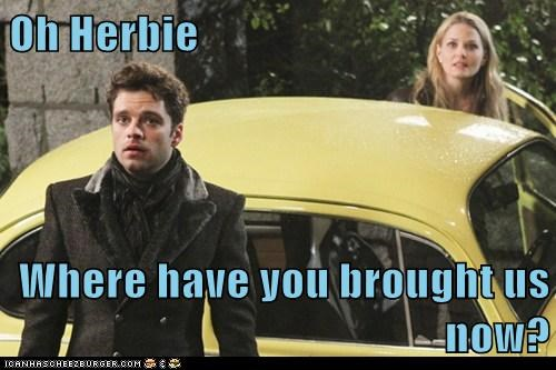 the love bug,jefferson,mad hatter,jennifer morrison,once upon a time,sebastian stan,herbie,Emma Swan