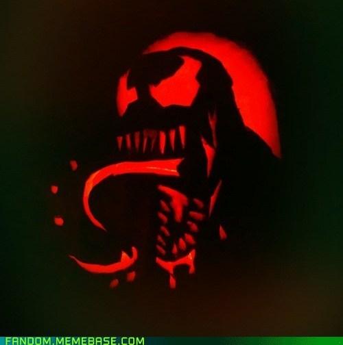 halloween jack o lanterns Spider-Man Venom pumpkins - 6721655296