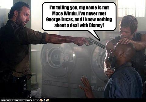 Rick Grimes george lucas disney Mace Windu Andrew Lincoln daryl dixon star wars norman reedus gun - 6722478592