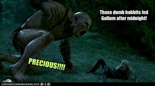 PRECIOUS!!!! Those dumb hobbits fed Gollum after midnight!