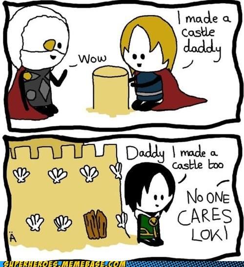 loki,Thor,sand castle,art,odin