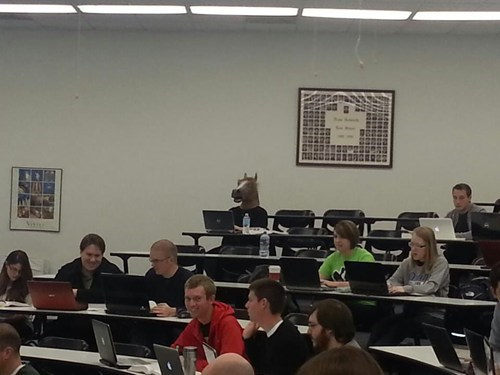 costume,in class,creepy,horse head