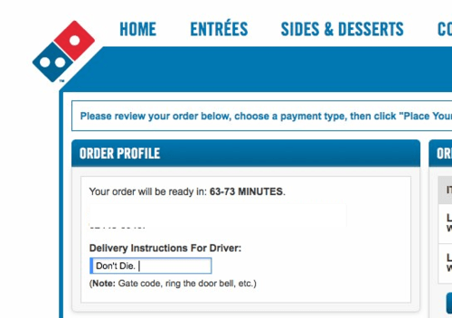 delivery instructions,dominos,dominos-pizza