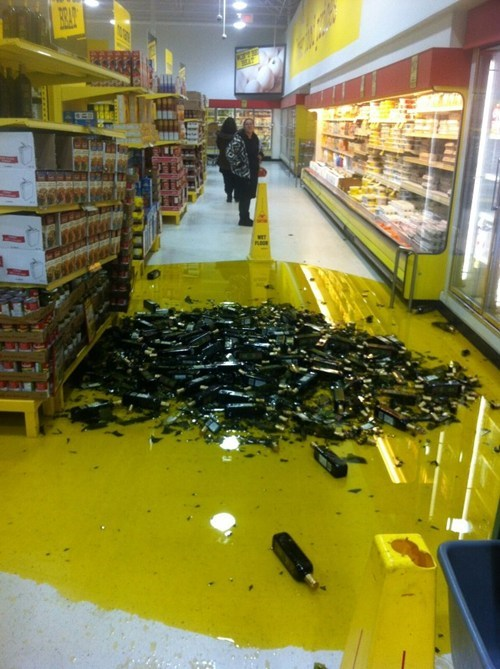 cleanup on aisle 4 broken bottles