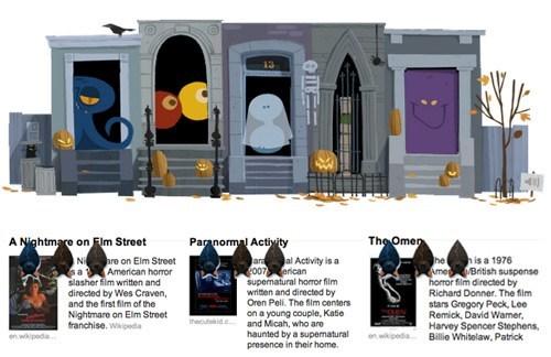 halloween,horror films,google doodle