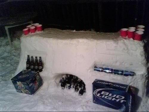 snow creative beer pong
