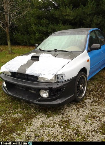 car hood,car fix,subaru,car fail,duct tape,garbage bags