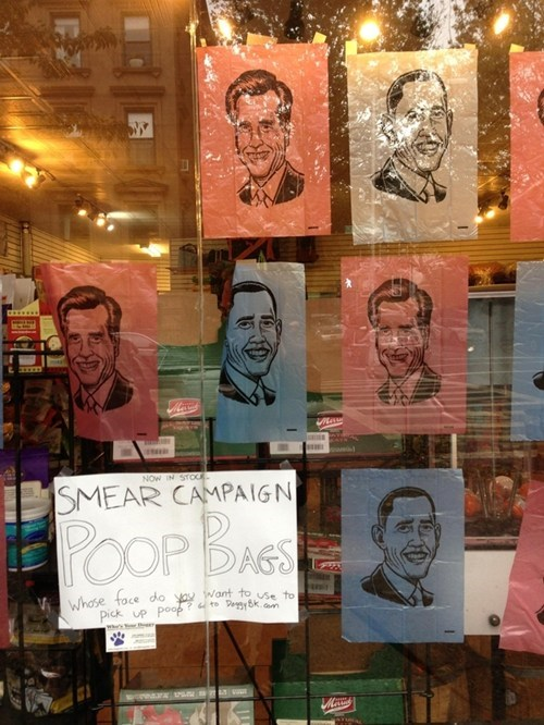 Smear Campaign,bag,Mitt Romney,dog poop,barack obama,pet store