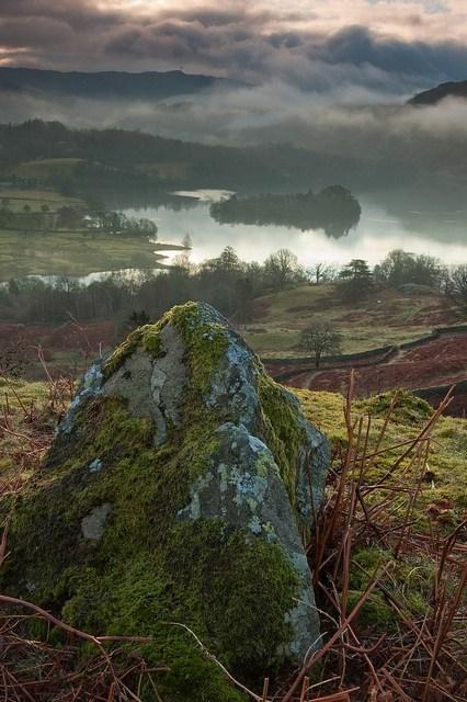 landscape,lake,fog