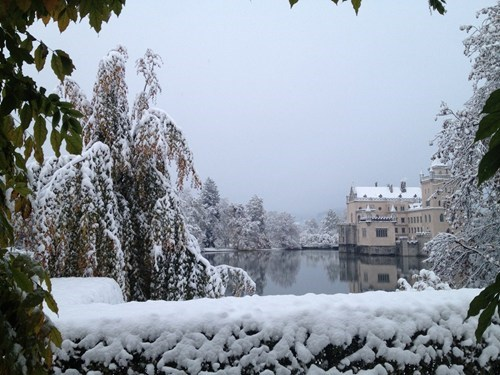 europe view castle snow magical winter lake