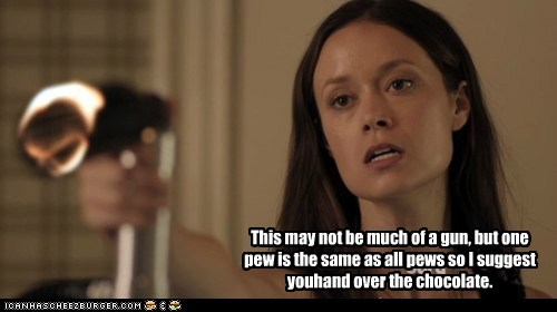 Skylar Adams,pew,gun,threat,summer glau,chocolate,Alphas