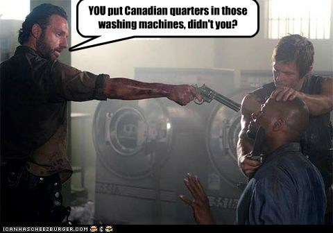 Rick Grimes,quarters,Andrew Lincoln,daryl dixon,canadian,washing machine,norman reedus,gun,broken,The Walking Dead
