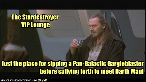 darth maul,star destroyer,liam neeson,qui-gon jinn,lounge,Pan Galactic Gargleblaster
