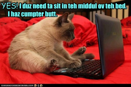 Kitteh doesn't care if you want to make your bed. I duz need ta sit in teh middul ov teh bed. I haz cumpter butt. YES!