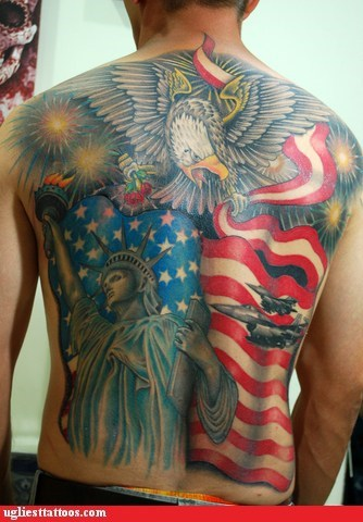 patriotic,america,back tattoos,Ugliest Tattoos