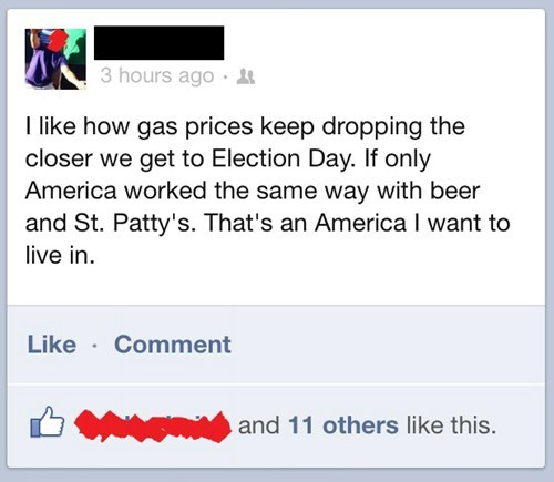 election day St Patrick's Day gas prices america election