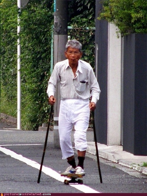 skater,old man,cane,for life