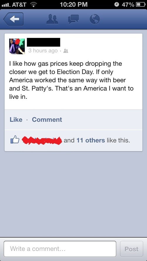 election day,St Patrick's Day,a man can dream,gas prices