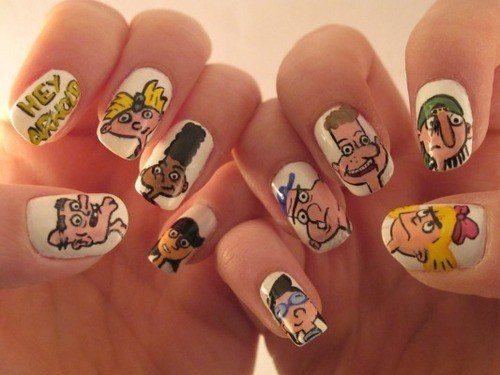 cartoons,hey arnold,nail art