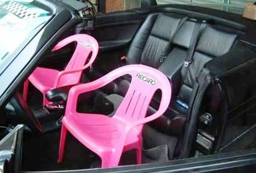 convertible car seats lawn chairs pink leather leather seat drivers seat g rated there I fixed it - 6726640640