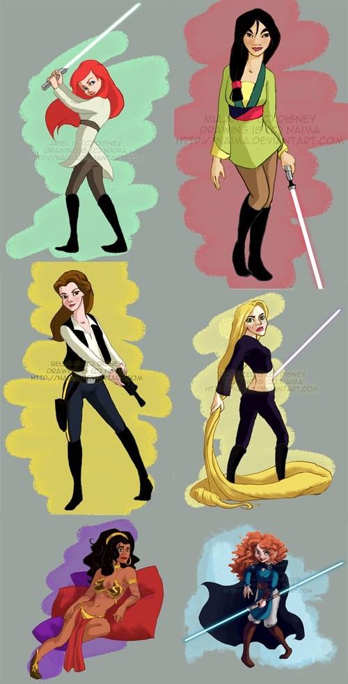 ariel,mulan,disney,esmerelda,star wars,lightsabers,merida,rapunzel,belle,Han Solo,Princess Leia,princesses,Jedi