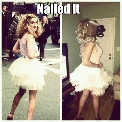 sarah jessica parker,mask,horse head,Nailed It