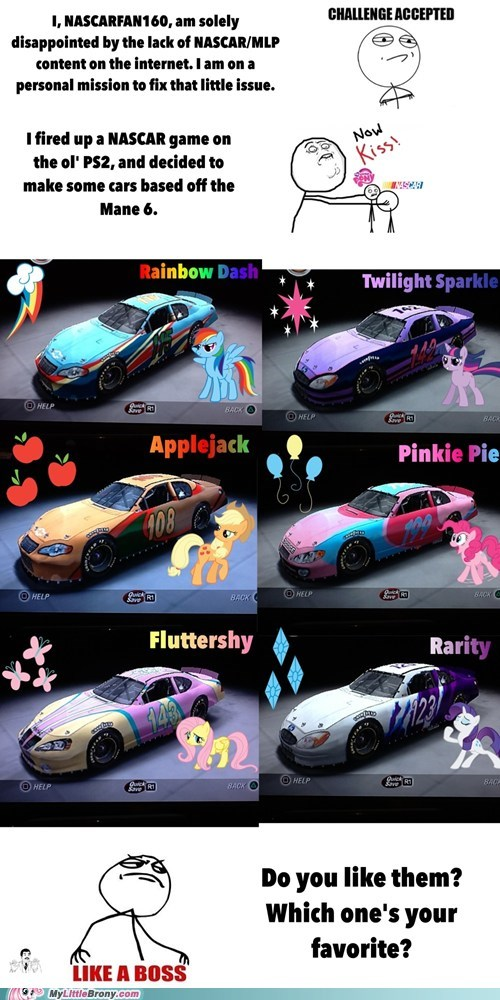 nascar,twenty percent cooler,now kiss,MLP