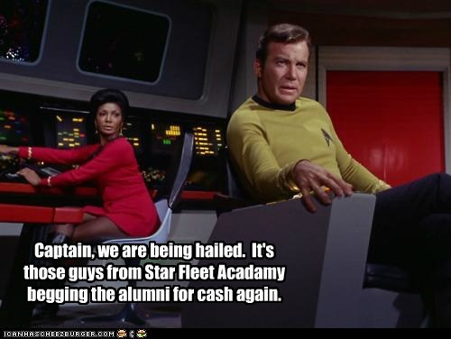 Captain Kirk annoying uhura Star Trek begging William Shatner Shatnerday money college Nichelle Nichols - 6727824640