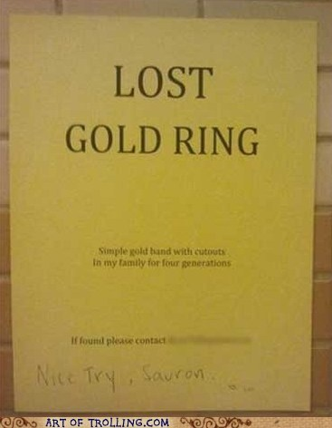 Lord of the Rings,sign,ring,lost