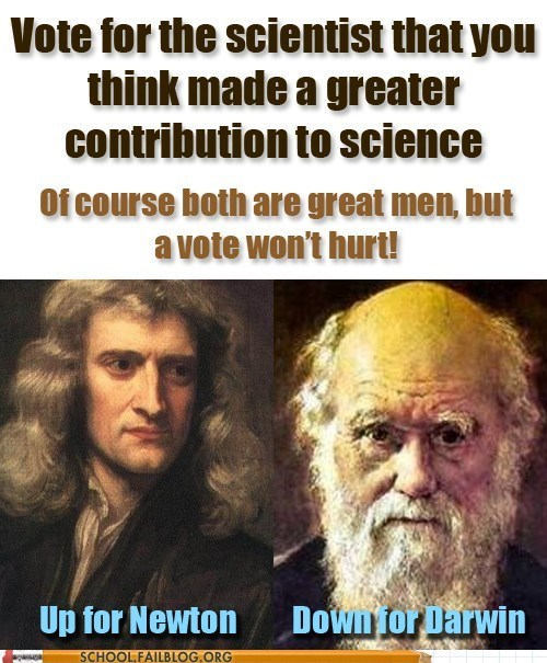 Newton,Darwin,science,vote now